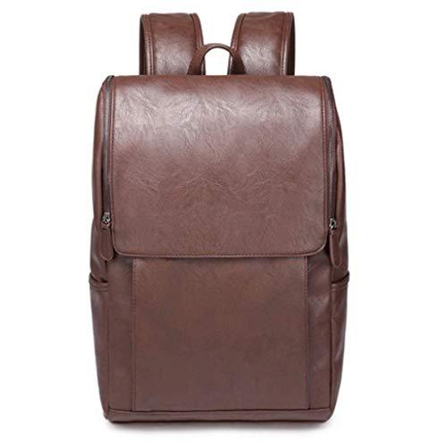 GFDFD Mochila de Cuero Vintage School College Bookbag Laptop Computer Backpack (Color : Brown)