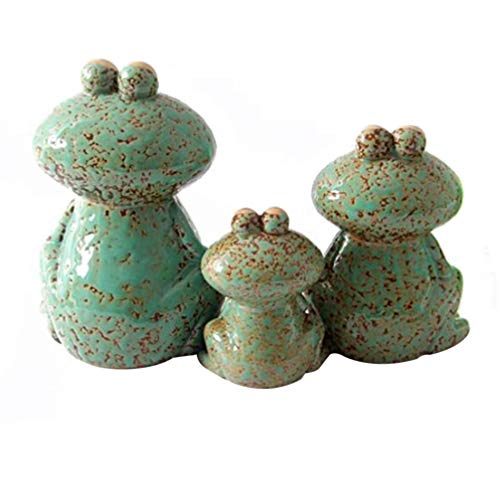 DOITOOL 3pcs Frog Family Figurines Porcelain Statues Collectible Ceramic Sculptures Frog Decor and Gift Green