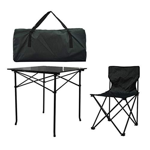 LiRuiPengBJ Sillas Plegables Juego de 5 Mesas y Sillas, Sillas de Camping Al Aire Libre Mesa Plegable de Aleación de Aluminio con Bolsa de Transporte para Picnic, Senderismo Folding Chairs