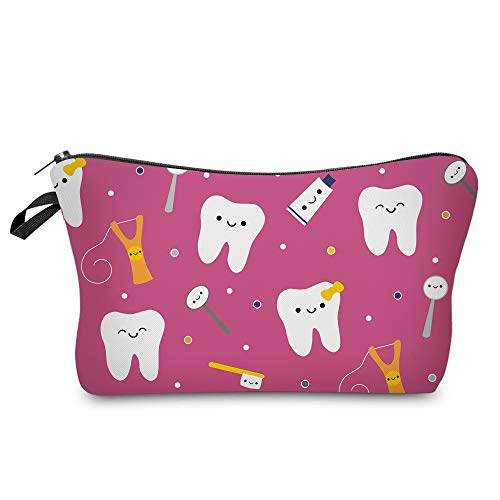 Cosmetic Bag MRSP Makeup bags for women,Small makeup pouch Travel bags for toiletries waterproof Happy Teeth Friends Dark PInk (51708)