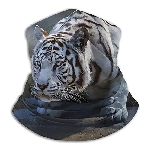 Máscara de tigre blanco transpirable cuello calentador cara cubierta diadema bufanda motocicleta cabeza abrigo