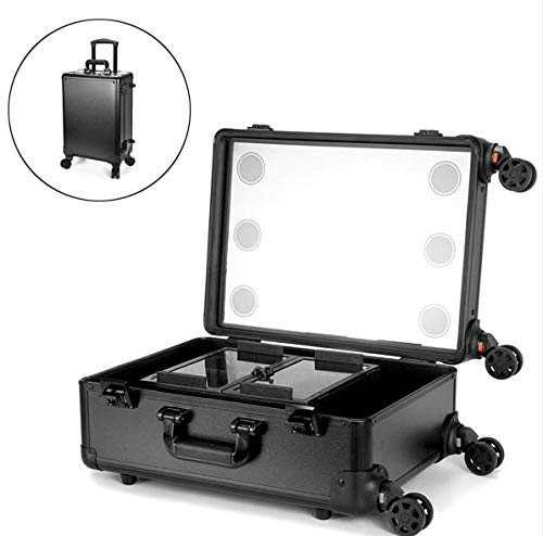 Xinyizi cosmeticakoffer trolley professionele cosmetica visagisten make-up koffer met vakjes voor cosmetica, 6 ledlampen, make-up spiegel