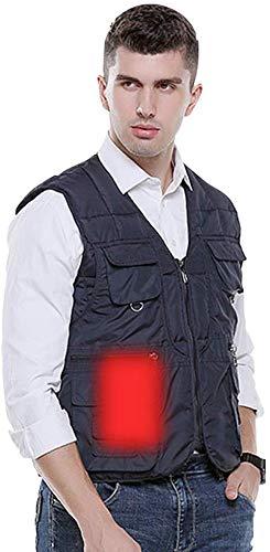 CHNDR verwarmd herenvest top, mouwen geïsoleerde jas met ritssluiting, elektrisch vest, ideaal voor outdoor-motor, fiets, wandelen, skiën en camping met USB-interface, groen-XXXXL