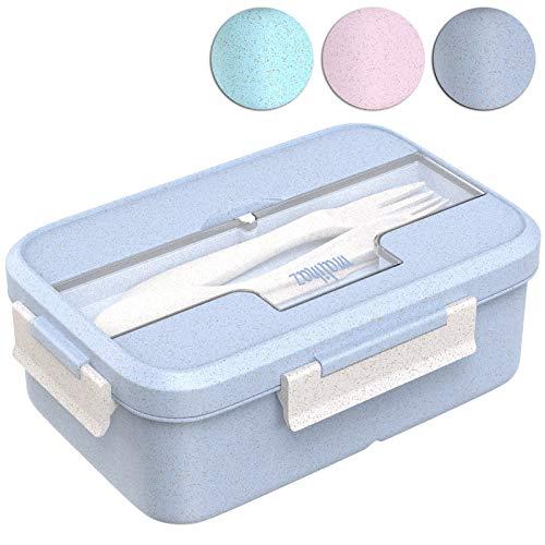 Malihaz Brotdose inkl. Besteck - Lunchbox aus Bio basiertem Weizenstroh I Spülmaschinenfeste Bentobox mit DREI Fächern (Blue)