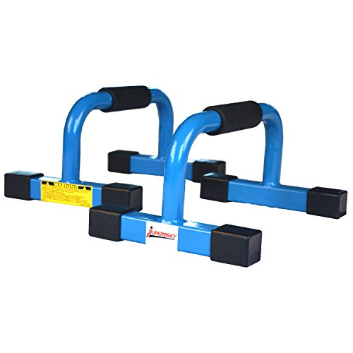 "Juperbsky Push Up Stands Bars Parallettes Set for Workout Exercise, 12"" x 7""x 5.5"" Blue"