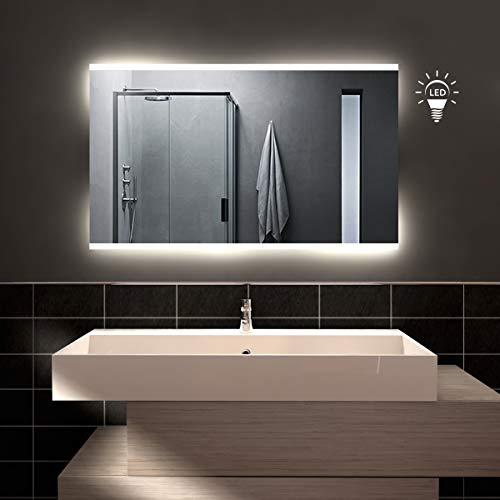 styleglass Specchio Bagno Rettangolare Retroilluminato Opale 100x60cm, Specchio Parete Made in Italy, Telaio in PVC, Kit Fissaggio Murale Incluso, Grado di Protezione IP20