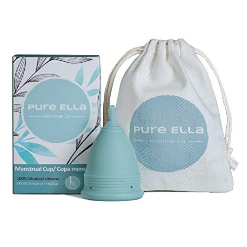 Pure Ella Copa Menstrual - Copa de periodo de silicona suave y reutilizable - 12 horas de protección - 100% silicona médica y libre de BPA - Higiene íntima sostenible e hipoalérgica - Tallas S y L