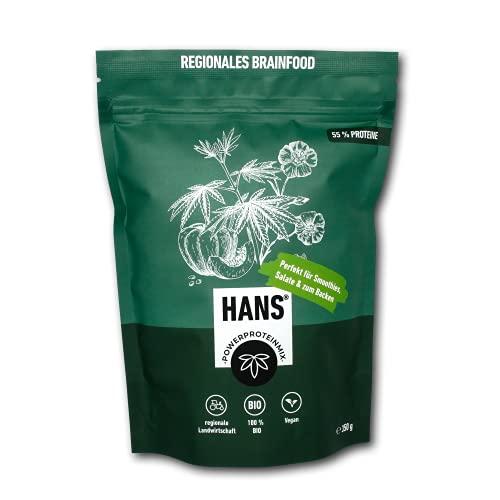 HANS® Vegan Proteinpulver 55% Eiweiß   Hanf Lein Kürbis Sonnenblume   Pflanzliches Hanfpulver ohne Zusatzstoffe   Superfood Eiweißpulver für den Muskelaufbau   Bio-Protein Pulver