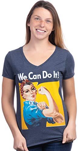 Rosie The Riveter, We Can Do It | Feminist Rosey Rosy V-Neck T-Shirt for Women