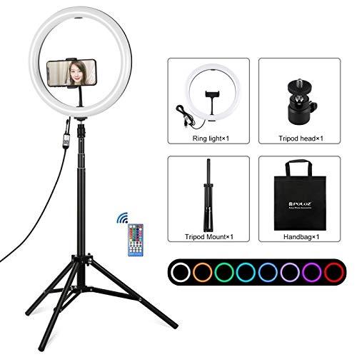 Accesorios de la cámara 11.8 Pulgadas 30cm RGBW Light + 1.65m Montaje de la Superficie Curva del Anillo vlogging Kits RGBW Regulable LED de luz con la emisión en Directo Zapata Adaptador de trípode &