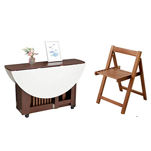 N/Z Living Equipment 48 Zoll Round Drop Leaf Tisch Klappbare Abnehmbare Home Small Apartment Klapptisch Multifunktions-Esstisch Simple Economy + 4 Stühle A.