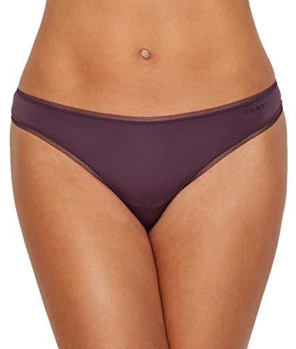 DKNY Women's Litewear Low Rise Thong Panty, Aubergine Dark, Small