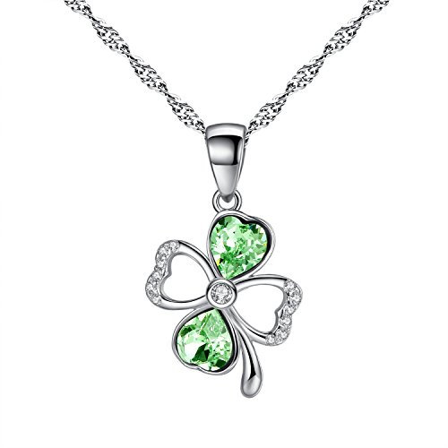Sterling Silver Green Four Leaf CLover Lucky Symbol Pendant Necklace Cubic Zirconia, Come With Chain And Gift Box