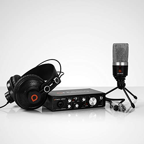 Artesia ARB-4 Recording Bundle - Professional 24-bit USB Audio Interface with Studio Monitor Headphones+ Cardioid Condenser Microphone + Desktop Headphone Hanger + Mic Cable + Bitwig studio 8