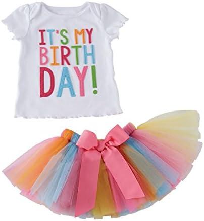 Conjunto de ropa de bebé Puseky con falda de tul de colorines y camiseta que dice