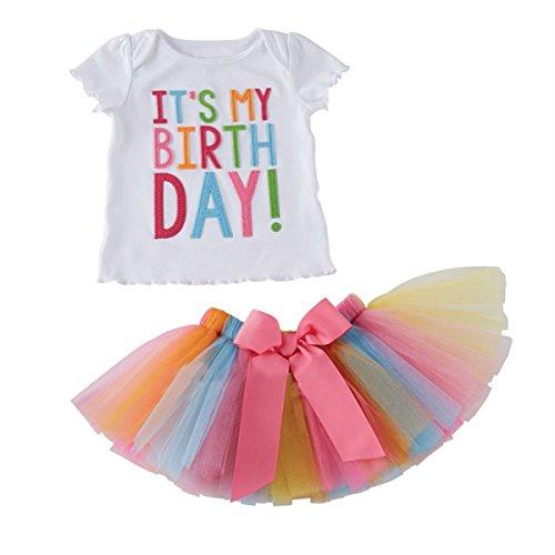 puseky Camicetta per Bambini Compleanno Abiti Camicia Arcobaleno Tutu Gonna Abito per Bambini Regali di Compleanno (2-3 Anni)