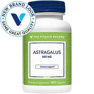 Astragalus (Root) 500mg Herbal Supplement to Support The Immune System Body's Natural Defenses Helps Build Stamina, Energy Vitality (100 Capsules) by The Vitamin Shoppe