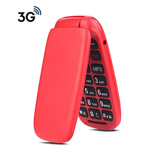 Ushining 3G Unlocked Senior Flip Phone Large Icon Cell Phone Easy to Use Flip Phone for Seniors and Kids T-Mobile Card Suitable(Red)