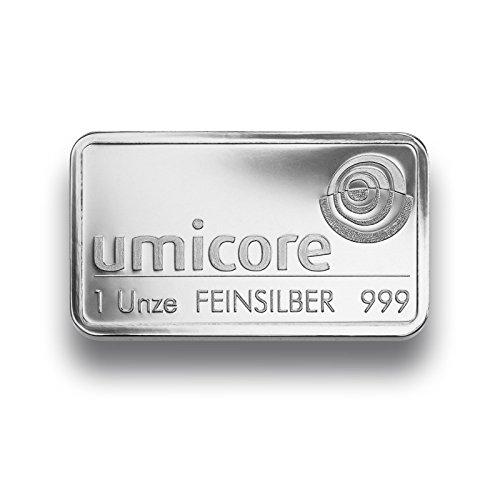 Silberbarren 1 Unze von Umicore - 999 Feinsilber - einzeln in Folie sicher verpackt