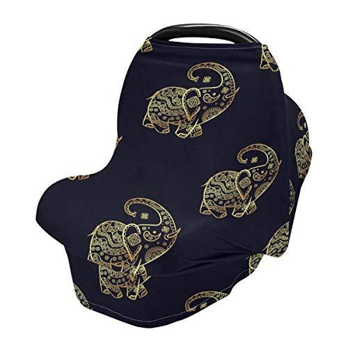 Funda para lactancia materna, diseño retro de elefante pequeño para asientos de coche para bebés y bebés, funda para cochecito, toldo para asiento de coche para niños y niñas