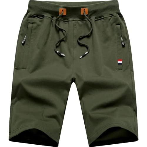 Katenyl Pantalones Cortos para Hombre Moda Entrenamiento Correr Cómodo Ocio Baloncesto Pantalones Cortos Deportivos básicos de Talla Grande con cordón 5XL