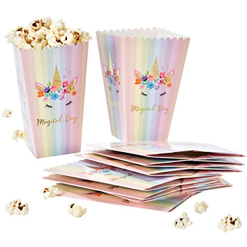 24 Unicorn Popcorn Boxes with Gold Foil For Birthday & Baby Shower Favors Magical Day Rainbow Unicorns Theme Treat Box Containers Party Supplies Decorations by Gift Boutique