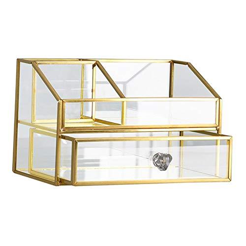 harayaa Antike Glaskosmetik Aufbewahrungskoffer Kosmetischer Organizer für Schminktisch
