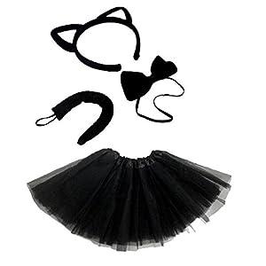 Women/'s Halloween Fancy Costume Cat Tutu Black With Tail UK Size 10-14