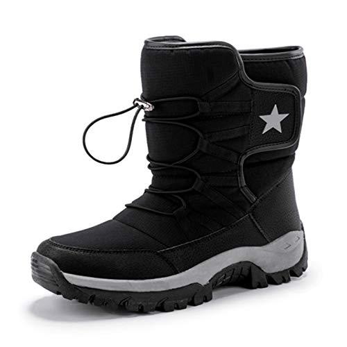 Q-YR Botas De Nieve Al Aire Libre Invierno Hombres De Invierno Y Moda para Mujer Más Velvet Zapatos De Algodón Caliente Antideslizante Resistente Al Frío,Negro,43