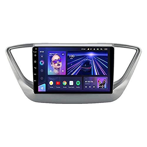 Radio Coche Pantalla, CC3 Stereo Car Radio para Hyundai Solaris 2 2017 2018 Reproductor de Video Multimedia Android 10.0 Navegación GPS WiFi 4G Control del Volante DSP Carplay con cámara de visión t