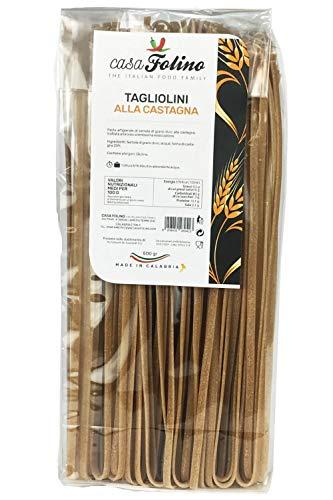 Pasta Tagliolini alla Castagna 500 Gr. Trafilate al Bronzo- Casafolino - Pasta Artigianale- Pasta Regionale - Made in Italy- con semola di grano duro e farina di castagna.