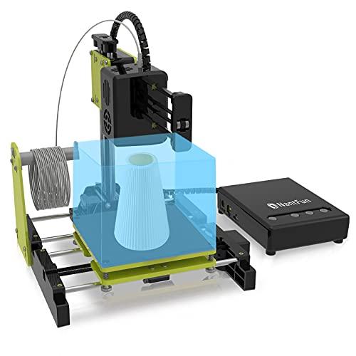 """NantFun Mini stampante 3D piccola stampante 3D per bambini e principianti, riscaldamento veloce, silenzioso, dimensioni di stampa 4 × 4"""" × 4"""", filamento di prova libero da 10 m – 1,75 mm"""