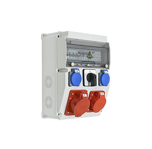 Caja de obras trifásica equipada con ASTAT 261 Plus IP65 32A/5P, 16A/5P, 2x230V SCHUKO IP44, interruptor L-0-P, disyuntores Hager incluidos