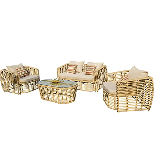 Aimir Outdoor Patio Furniture Sets, 5-Piece Home All-Weather Balcony Conversation Wicker Furniture Set Rattan Chair Combination with Glass Coffee Table