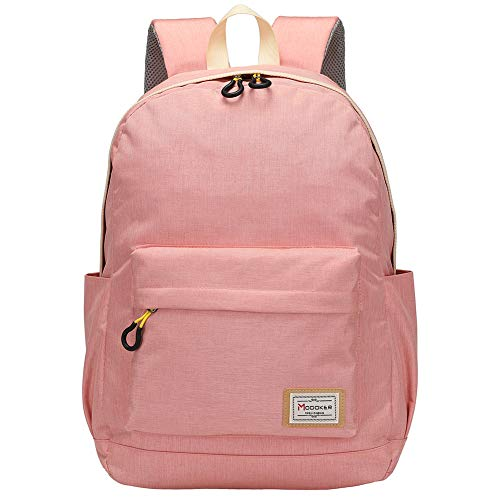 Travel Laptop Backpack Rucksack for Womens Mens,Modoker Vintage College School Backpack with USB Charging Port,Multipurpose Daypack Computer Bag Fits 15.6 inch Pink