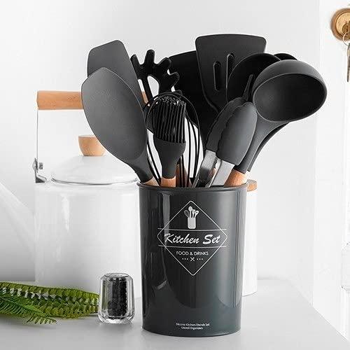 Kit Utensílios de Cozinha de Silicone 12pcs C/Suporte Flórida- Cinza Grafite