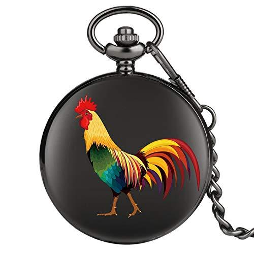 Reloj de Bolsillo de Cuarzo con patrón de boceto de Gallo, Reloj de Cadena, Relojes de Fob Suave Negro Retro para Hombres, Mujeres, niños