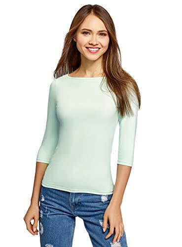 oodji Collection Damen T-Shirt Basic mit 3/4-Ärmeln, Grün, DE 34 / EU 36 / XS