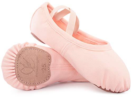 Zapatillas de Danza para niñas Zapatos de Ballet Lona elástica con Suela de Cuero Dividido Negro marrón Rosa