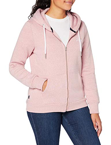 Superdry Womens ORANGE Label Zip Hood Cardigan Sweater, Sandy Pink Snowy, L (Herstellergröße:14)