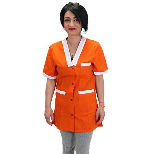 Petersabitidalavoro Camice-da-Lavoro-Donna-Maestra Asilo-Supermercato-Professionale-Operaia-Grembiule (XL=52-54, Arancione)