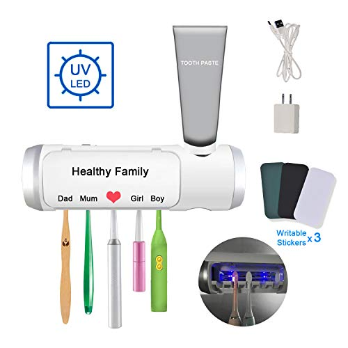 Aquatrend UV Toothbrush & Toothpaste Holder, with Drying & Build-in Fan, Wall Mounted Toothbrush Organizer, 5 Slots for Bathroom Family Kids, USB Charging Equipped with Adapter, 3 Stickers
