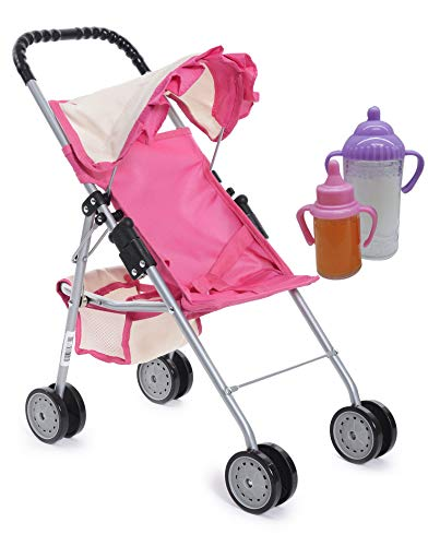 fash n kolor My First Doll Stroller with Basket - Pink & Off-White Foldable Doll Stroller