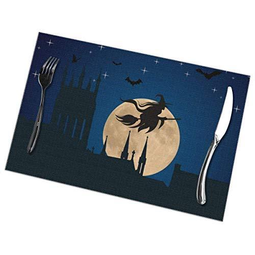 Singledog Tischsets Tischsets 6er-Set Halloween Die Hexe Hexenbesen Moon Star Magic Tischsets 30X45CM