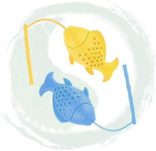Fishing Tea Infuser for Loose Tea Cute Ultra Fine Mesh Tea Strainer Silicone Tea Filter Tea Ocean Themed Silicone Tea Strainers Filters for Ocean Lovers Party Favors Silicone BPA Free 2 Pcs