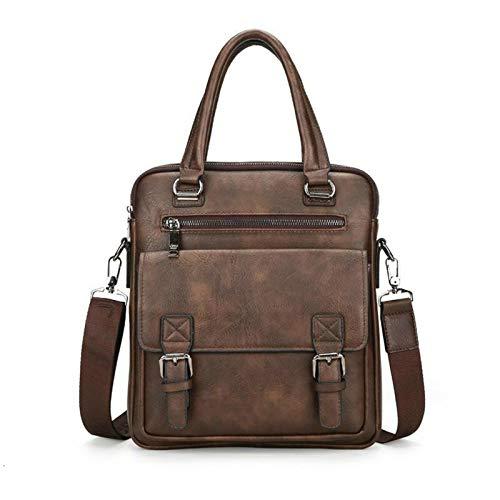 Yi-xir Bolso de piel para hombre, diseño de moda, con dos bolsillos, asa para portátil, ligero y duradero (color: 8001A café, tamaño: A)