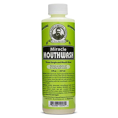 Uncle Harry's Natural Alkalizing Miracle Mouthwash | Organic Adult & Kids Mouthwash for Bad Breath | pH Balanced Oral Care Mouth Wash & Mouth Rinse (8 fl oz)