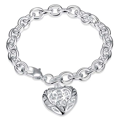 Women's Fine Jewelry 925 Sterling Silver Hollow Heart Charm 8'' Thick Chain Lobster Clasp Bracelet Bangle For Women