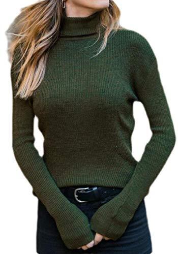 H&E Damen Rollkragenpullover, Gerippter Strickpullover für Herbst Gr. M, grün