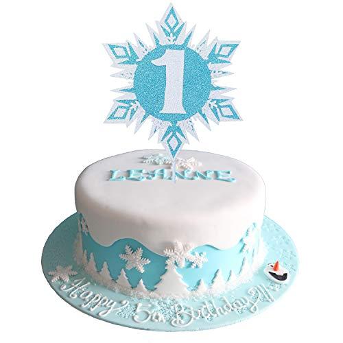 Glittery Frozen Cake Toppers 1, Frozen Cake Topper 1st Birthday, Snowflake Cake Topper, Winter Wonderland Snow Princess Happy Birthday Cake Topper for Girls Kids Frozen 1st Birthday Party Decorations